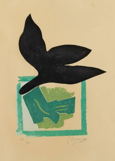 Georges Braque - Oiseau noir sur fond vert