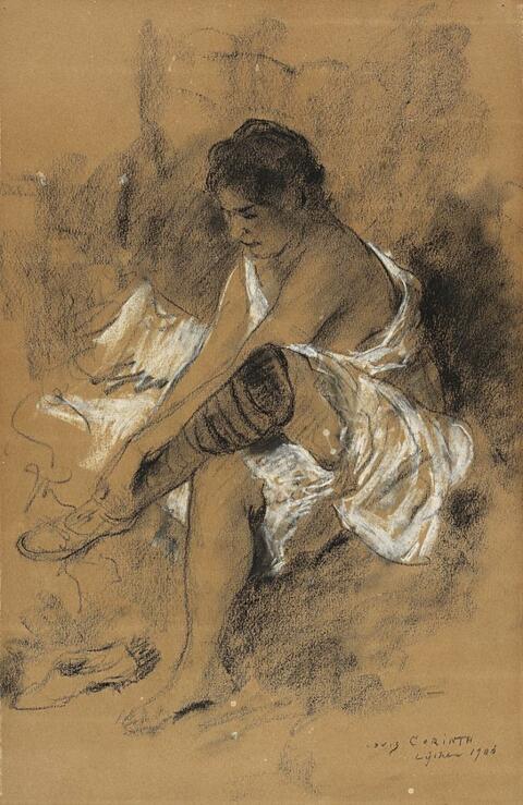 Lovis Corinth - Strumpfanziehendes Mädchen (Nach dem Bade)