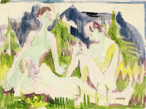 Ernst Ludwig Kirchner - Three Bathers (Nudes in Mountain Landscape)