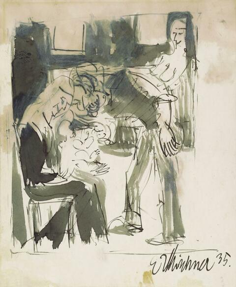 Ernst Ludwig Kirchner - Figural Scene(Young Woman with Child); verso Seated Cat at a Window before the Wood Sculpture Double-Portait Ernst Ludwig Kirchner and Erna