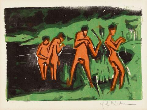 Ernst Ludwig Kirchner - Mit Schilf werfende Badende (Bathers throwing Reeds)