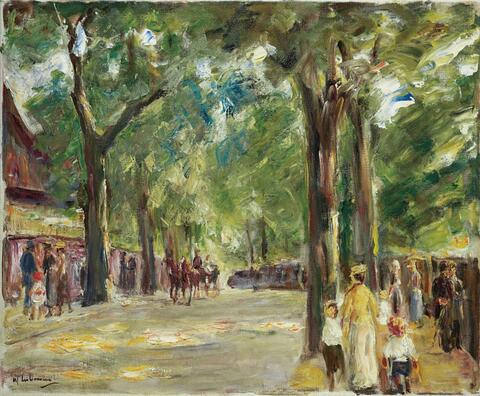 Max Liebermann - Die große Seestraße in Wannsee mit Spaziergängern (The large Lake Street in Wannsee with Strolling People)