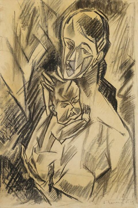 Heinrich Nauen - Mother and Child (Composition Sketch)