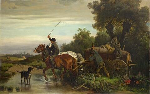 Adolf van der Venne - HORSE TEAM AT A PASSAGE