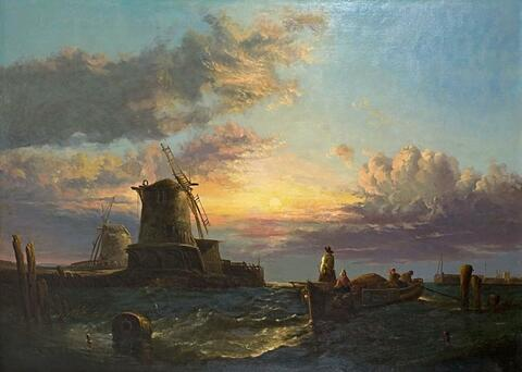 James Webb, attributed to - COASTAL LANDSCAPE WITH MILLS AND FISHERBOATS