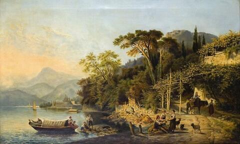 Deutscher Künstler (?) des 19. Jahrhunderts - OBERITALIENISCHE SEELANDSCHAFT MIT BOOTEN UND HÄNDLERN