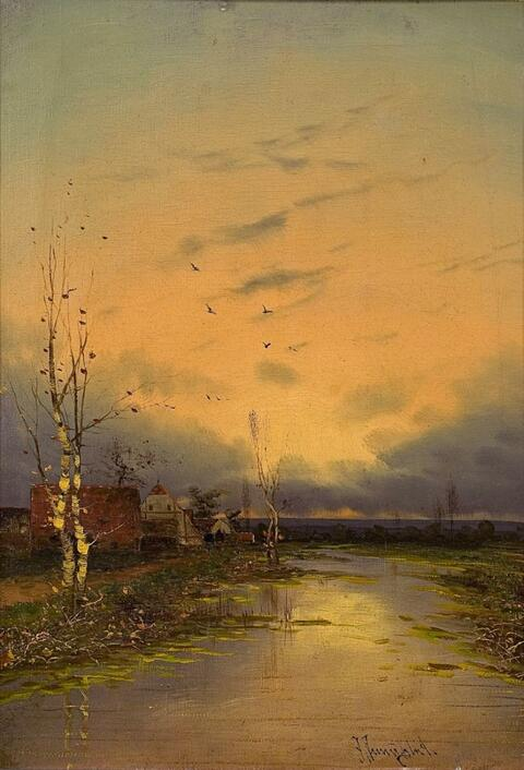 Johann Jungblut - RIVER LANDSCAPE IN THE EVENING