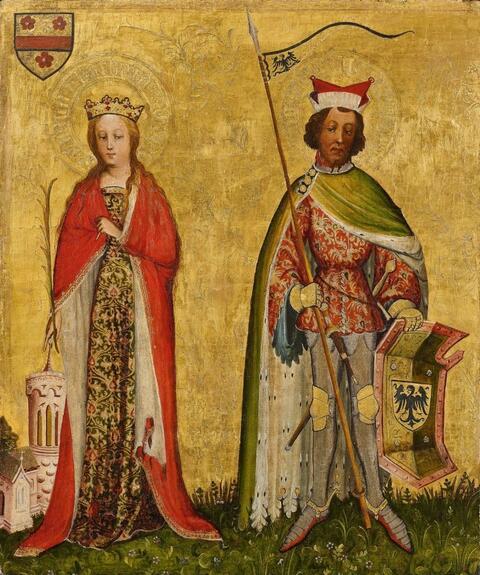 Meister der Mainzer Kreuzigung, circa 1400/1410 - SAINT BARBARA AND SANIT MAURICE