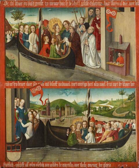 Meister von 1456 - ZWEI SZENEN AUS DER URSULALEGENDE: ANKUNFT UND ABFAHRT VON MAINZ