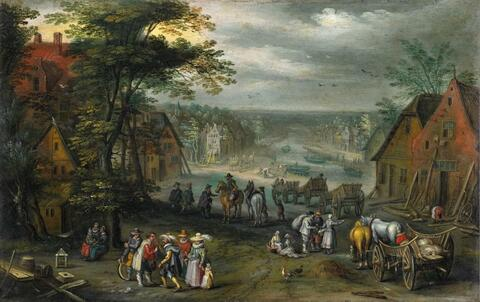 Jan Brueghel the Younger - VILLAGE STREET WITH CANAL