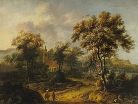 Jacob van der Croos - WOODED LANDSCAPE WITH CHURCH AND RIDERS