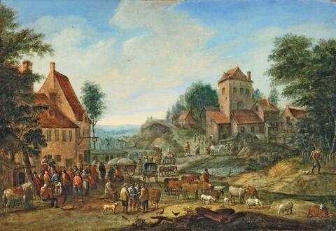 Peeter van Bredael - VILLAGE LANDSCAPE WITH MARKET