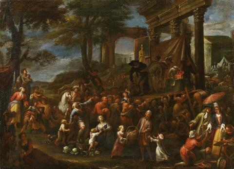 German School, early 18th century - TWO SCENES WITH TRAVELLING THEATRE AND AUDIENCE