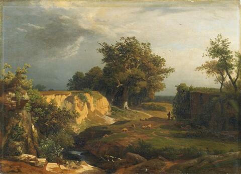 Johann Wilhelm Schirmer - LANDSCAPE WITH SHEPHERD AND SHEEP