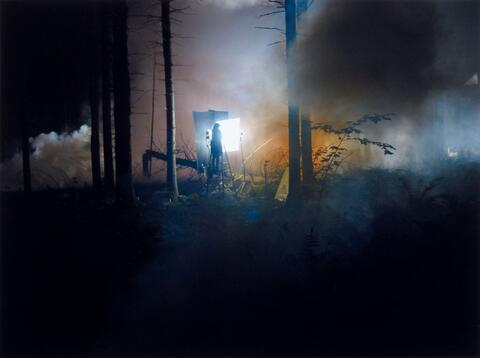 Gregory Crewdson - PRODUCTION STILL - MAN IN WOODS # 2 (FROM: BENEATH THE ROSES)