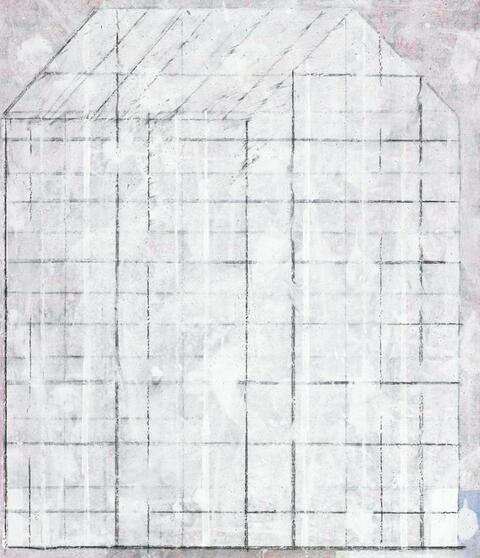 Horst Antes - Haus weiss schwarz Struktur