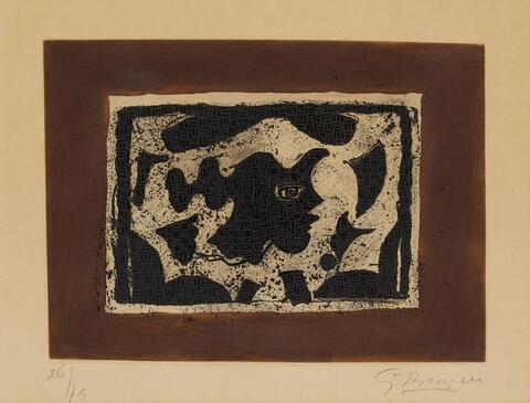 Georges Braque - Tête grecque sur fond brun