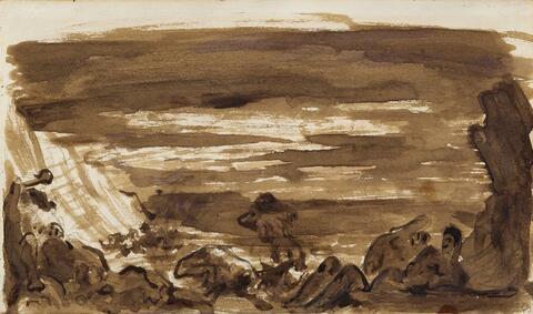 Paul Cézanne - Scène fantastique. Rückseitig: Promenade