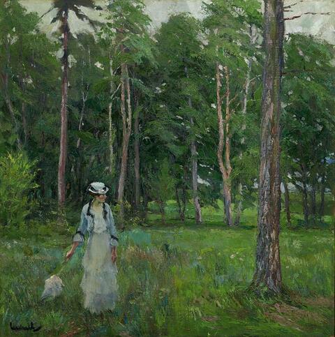 Edward Cucuel - Junge Frau auf einer Waldlichtung (Young woman in a forest clearing)