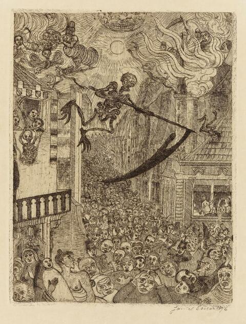 James Ensor - La Mort poursuivant le troupeau des humains