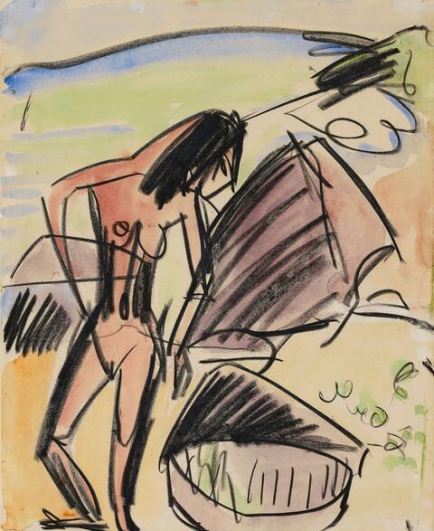 Ernst Ludwig Kirchner - Weiblicher Akt am Strand von Fehmarn (Female Nude on Fehmarn beach)
