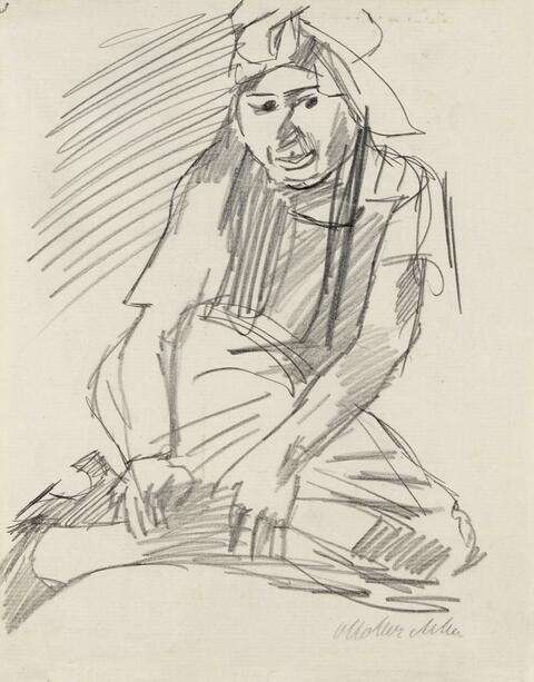Oskar Kokoschka - Lotte Mandl, sitzend mit angezogenen Beinen