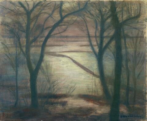Otto Modersohn - Mondnacht. Überschwemmung bei uns