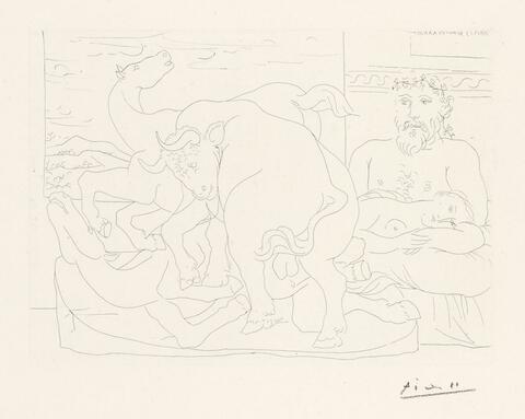 Pablo Picasso - Sculpteur et son modèle avec un groupe sculpté représentant un taureau attaquant des chevaux