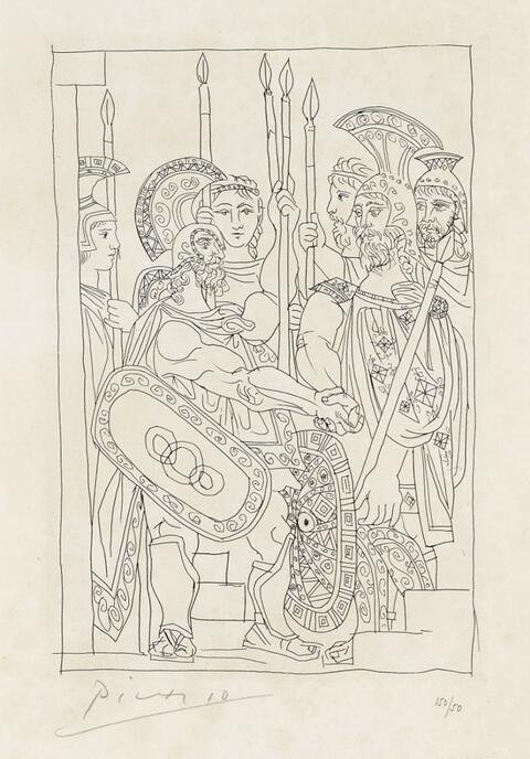 Pablo Picasso - Accord entre Guerriers de Sparte et d'Athènes (Lysistrata)