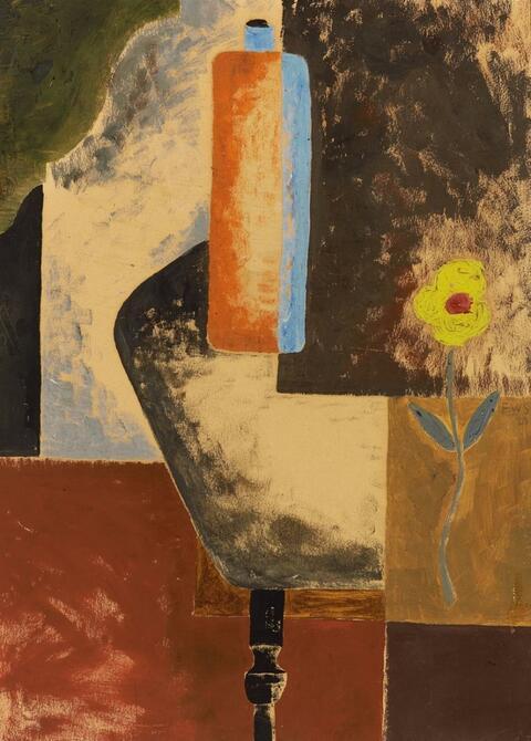 Franz Wilhelm Seiwert - Stilleben mit gelber Blume und Tonflasche