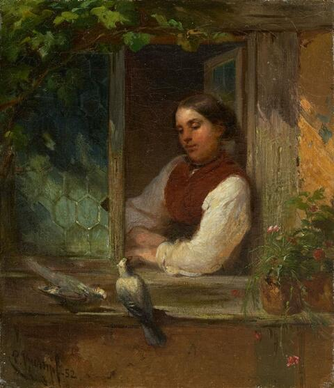 Philipp Rumpf - CHRISTINE RUMPF AT THE WINDOW WITH TWO DOVES