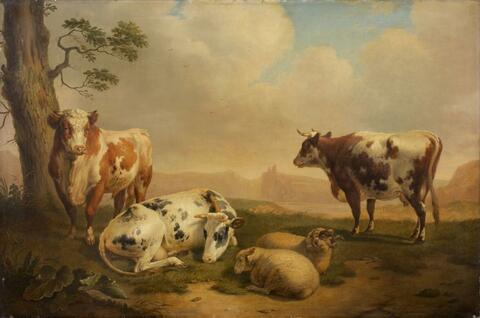 Abraham Bruiningh van Worrell - LANDSCAPE WITH COWS AND SHEEPS