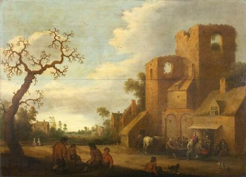 Netherlandish School, second half 17th century - PEASANTS IN FRONT OF A TAVERN