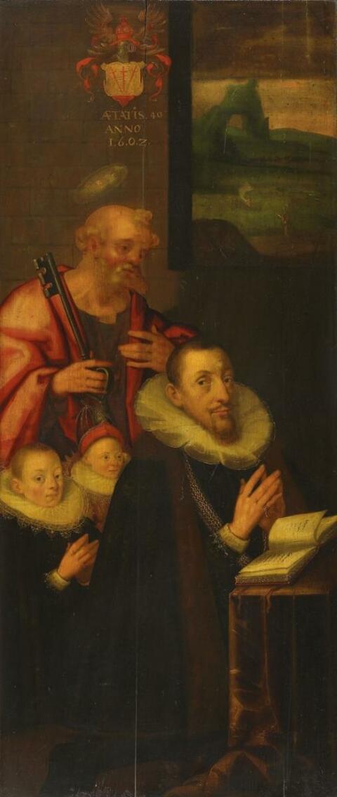 Netherlandish School circle of Gortzius Geldorp - PANALS OF AN ALTARPAINTING WITH PORTRAIT OF PETER VON RITZ