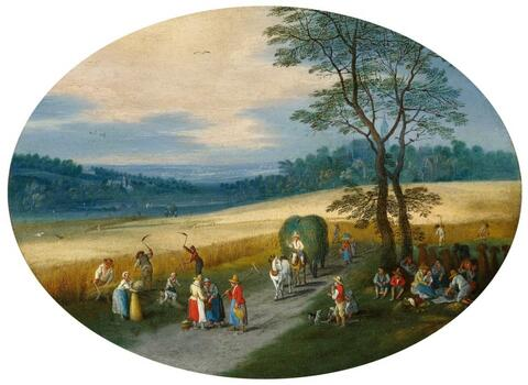Jan Brueghel the Younger - SUMMER LANDSCAPE WITH GRAIN HARVEST