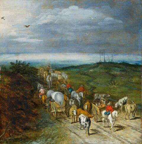 Jan Brueghel the Younger - LANDSCAPE WITH TRAVELLERS AND CATTLE HERD