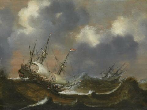 Claes Claesz. Wou - BATTLE SHIPS IN A STORMY SEA