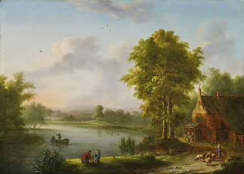 Johann Christian Vollerdt - LANDSCAPE WITH A HOUSE AT A SEA