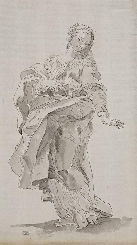 Venetian School, 18th century - STUDY FOR THE VIRGIN OF THE ANNUNCIATION