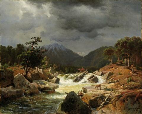 Andreas Achenbach - NORWEGEAN LANDSCAPE WITH TORRENT AND FOX