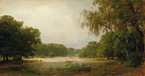Carl Friedrich Lessing - WOODED LANDSAPE WITH POND