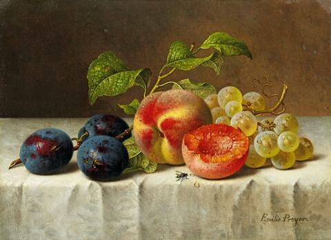 Emilie Preyer - STILL LIFE WITH PEACHES, GRAPES, PRUNES AND GRAPES