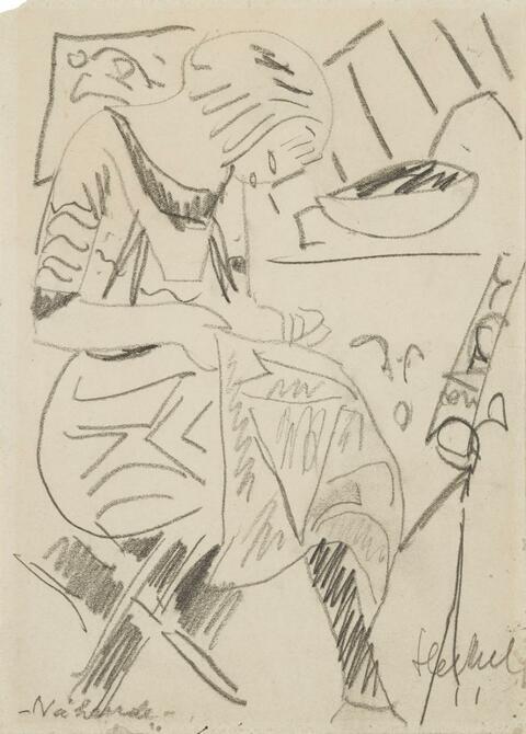 Erich Heckel - Nähende (Siddi im Atelier)