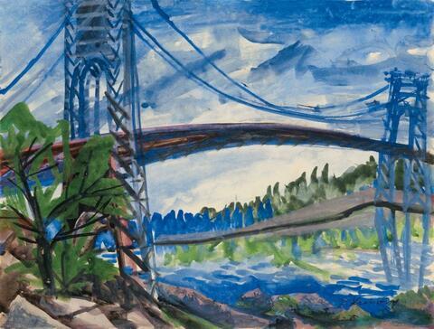 Bruno Krauskopf - Landschaft mit Brücke (Landscape with Bridge)