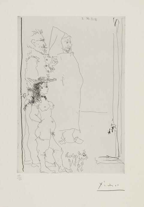 Pablo Picasso - Trois personnages, dont une caricature d'après El Greco et une d'après TINTIN, et un petit chien