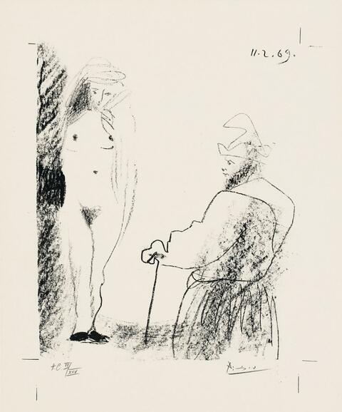 Pablo Picasso - Femme nue et homme à la canne