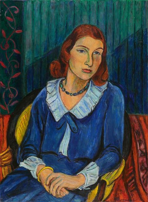 Hans Purrmann - Bildnis Dorle von Kapff: Dame in blauem Kleid (Portrait of Dorle von Kapff: Lady in Blue Dress)