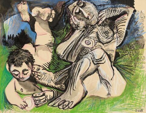 Pablo Picasso - Femme et jeune Garçon nus, mardi 3 juin 1969