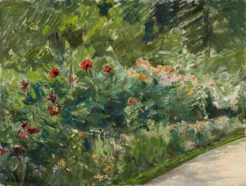 Max Liebermann - Blumenstauden im Nutzgarten nach Südwesten (Flower Shrubs in the Kitchen Garden towards Southwest)