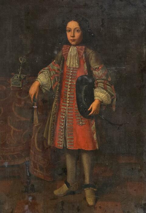 Französischer Meister (?) der 2. Hälfte des 17. Jahrhunderts - GANZFIGURENBILDNIS EINES KNABEN IN HÖFISCHER KLEIDUNG